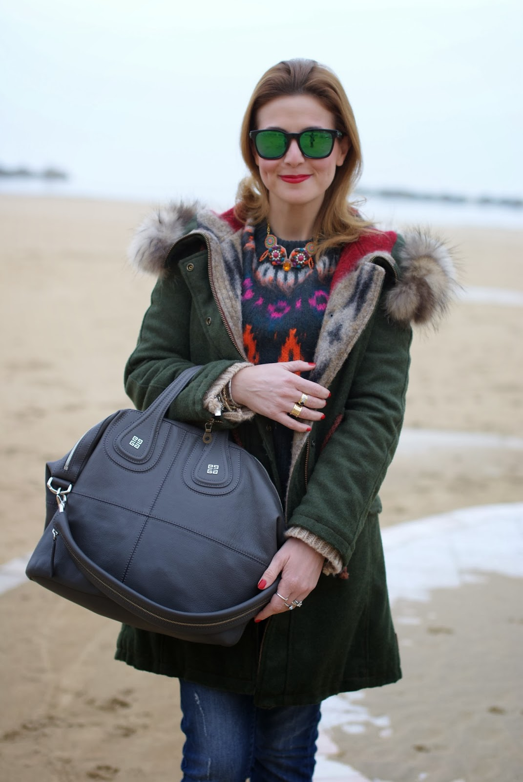 Gamp parka, Givenchy Nightingale bag, Numph Lea sweater, Fashion and Cookies, fashion blogger