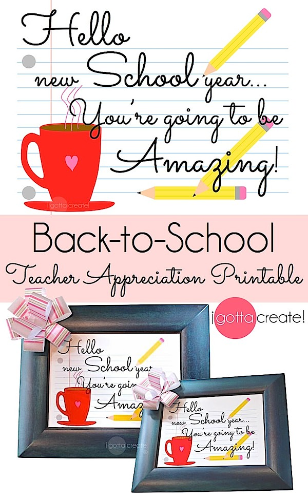 Love this quote! Back to School teacher appreciation 8x10, 5x7 and gift tags | free printable at I Gotta Create