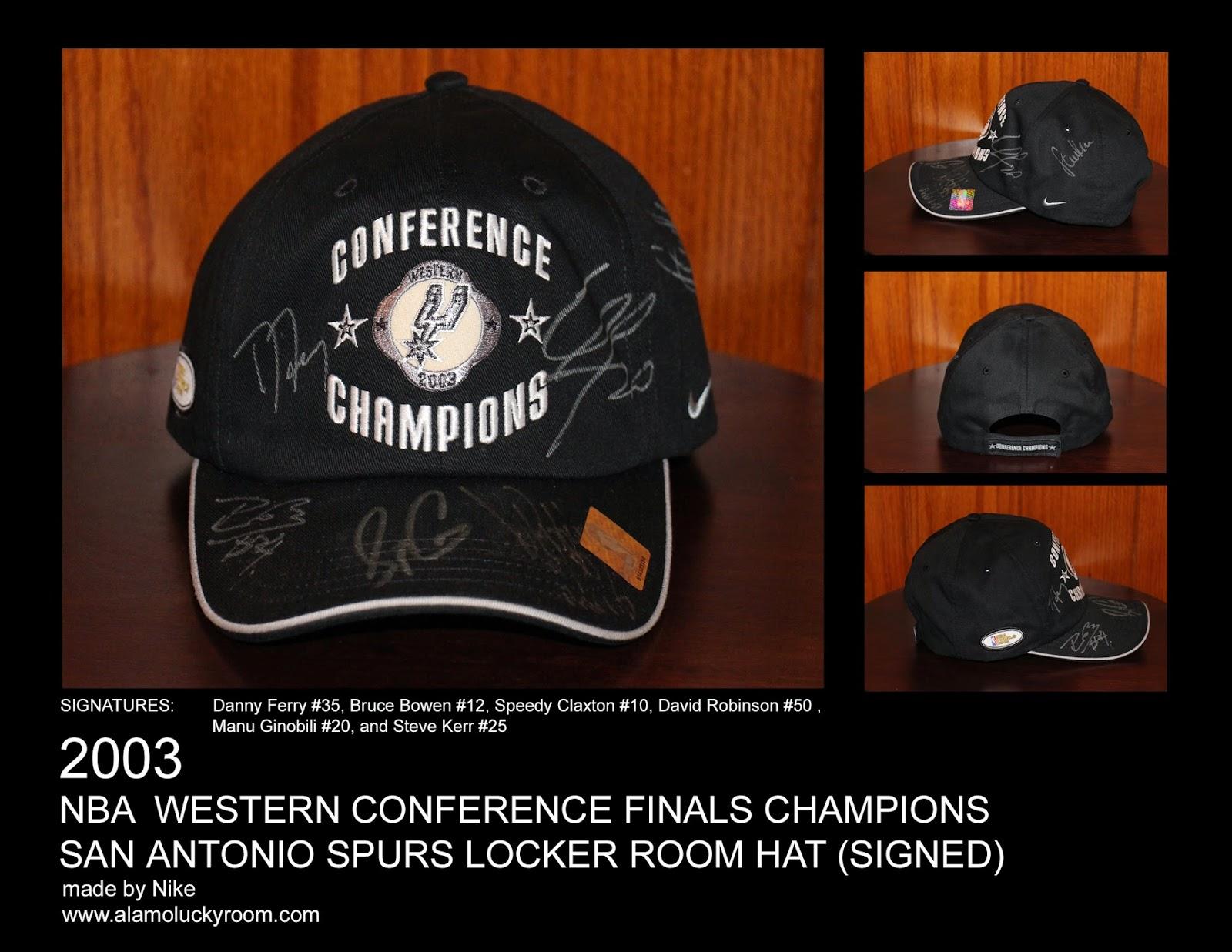 aa9e4ea318e 2003 San Antonio Spurs NBA Western Conference Finals Champions Locker Room  Hat (signed)