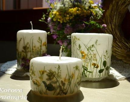 velas decoradas con flores deshidratadas - Velas Decoradas