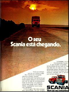 Scania.  reclame de carros anos 70. brazilian advertising cars in the 70. os anos 70. história da década de 70; Brazil in the 70s; propaganda carros anos 70; Oswaldo Hernandez;
