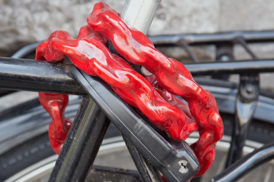 red bicycle lock