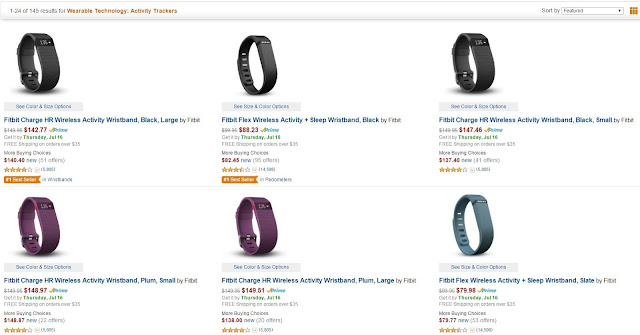 An Amazon shopping page, Wearable Technology:  Activity Trackers, showcasing fitbits as top sellers.