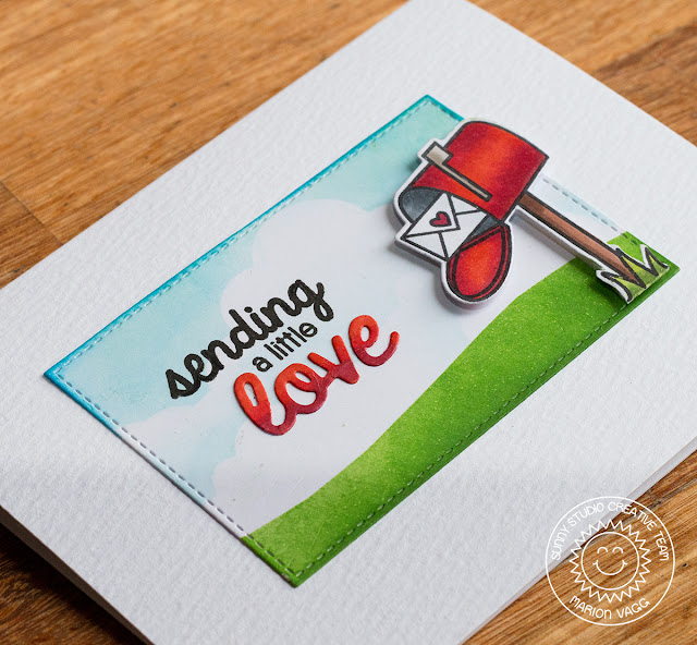 Sunny Studio: Sending A Little Love Mailbox Card by Marion Vagg (using Sending My Love Stamps and Love die from Furever Friends)