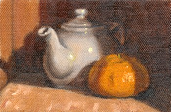 Oil painting of a teapot and a mandarine.