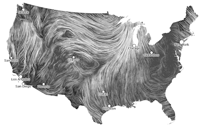 Animated depiction of wind blowing in the US