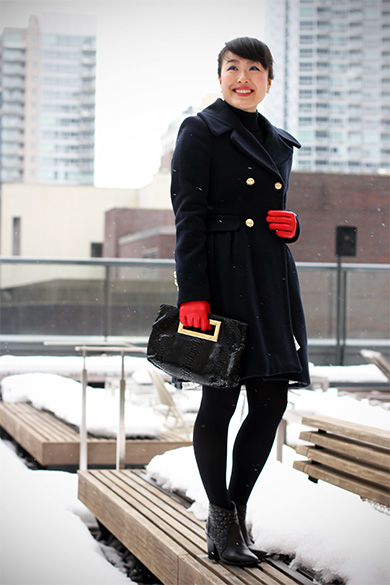 Zara Navy wool coat with Anthropologie Ninette skirt
