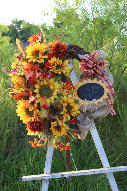 Sunflower and Burlap Wreath