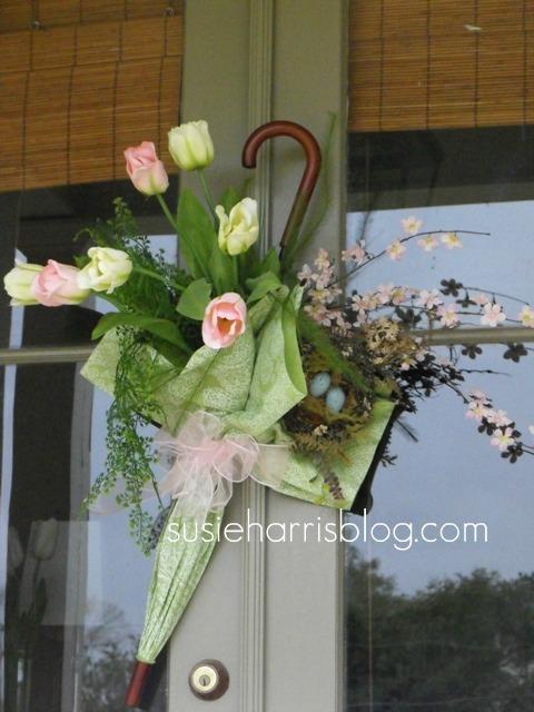 Susie harris diy spring umbrella door hanger - How to decorate with spring flowers ...
