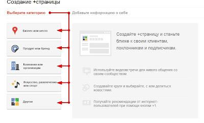 Создать страницу блога в Google плюс