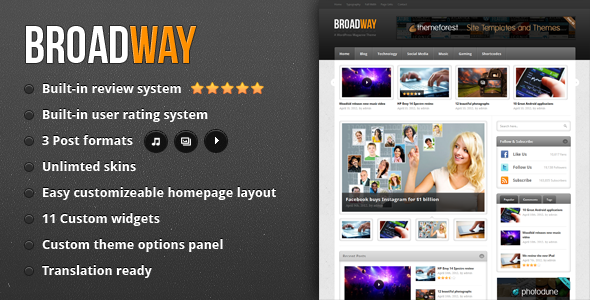 Broadway - Magazine WordPress Theme Free Download by ThemeForest.