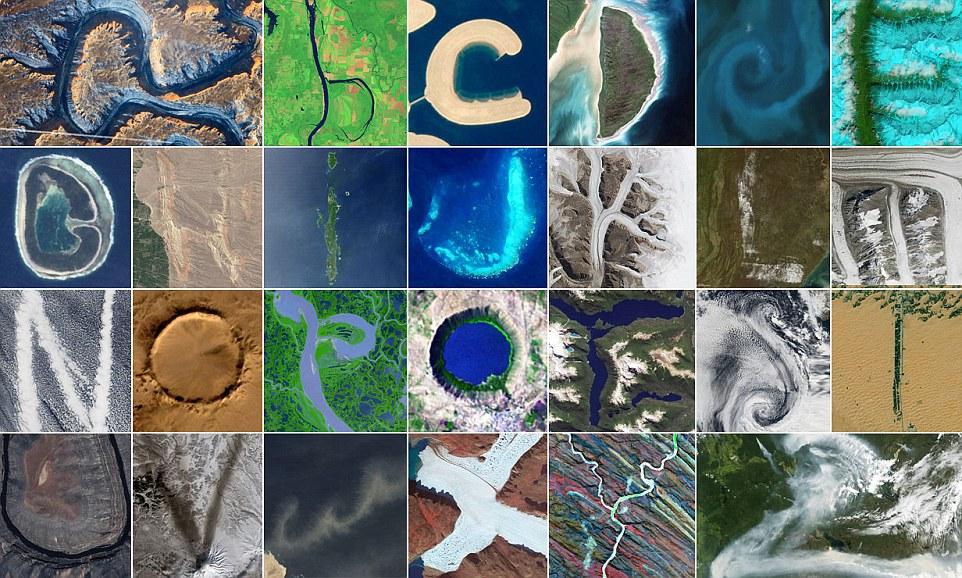 Pemandangan alphabet di bumi dari angkasa lepas