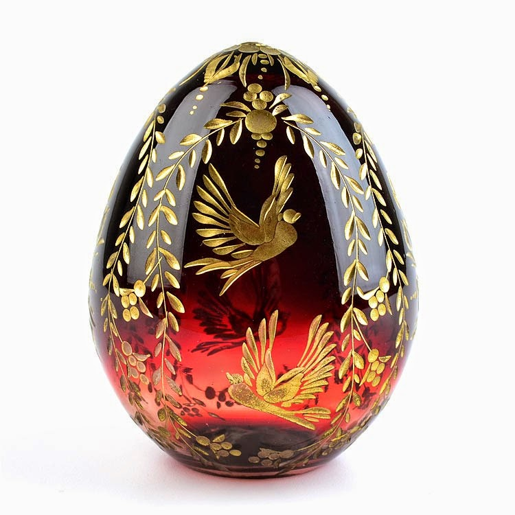 Russian Floral Doves Crystal Egg Red