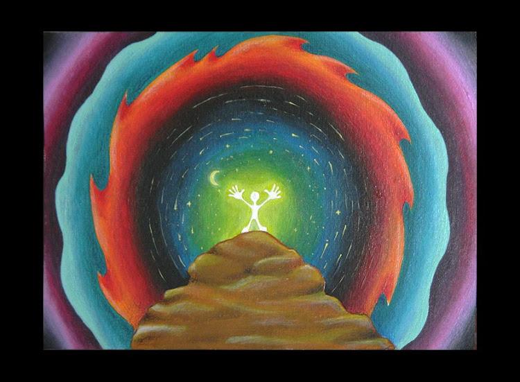 Sciamano dipinti orme magiche quadro disegno pittura spirituale arte zen