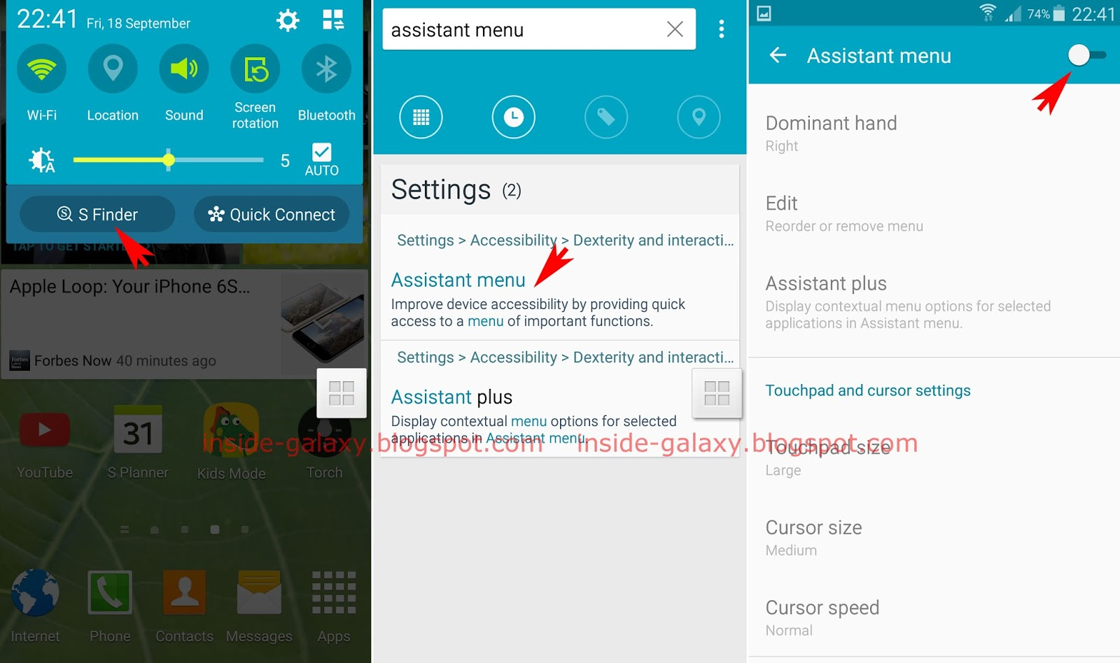 Samsung Galaxy S5: How to Disable Assistant Menu Feature ...