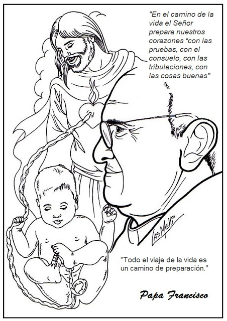传统动画 karikaturen: dibujos para colorear del PAPA FRANCISCO I