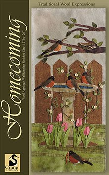 """Homecoming Wool Applique Wallhanging 12"""" x 26"""""""