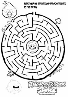 Angry birds space maze learn to coloring for Angry birds space coloring pages to print