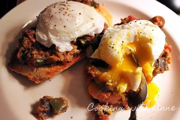 Poached Eggs on Ratatouille Bruschetta