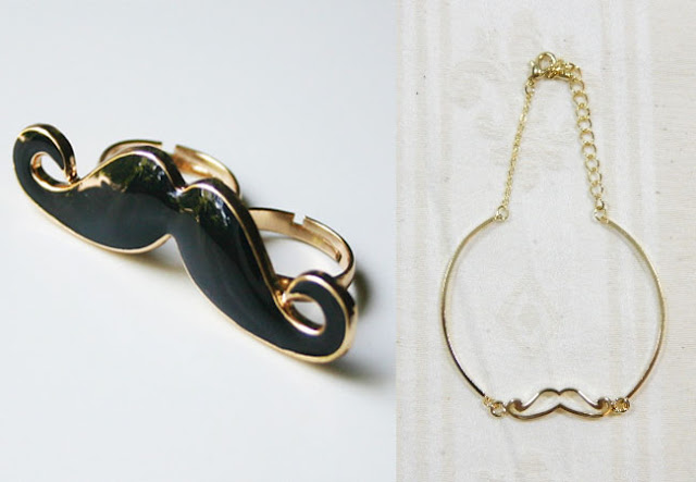 mustache ring, mustace bracelet