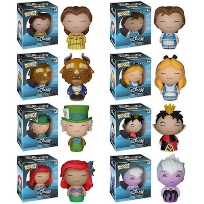 "Disney Dorbz Vinyl Figure Series 2 - Alice in Wonderland's Alice, the Mad Hatter & the Queen of Hearts, The Little Mermaid's Ariel & Ursula, & Beauty and the Beast's Belle, Beast & ""Peasant"" Belle"