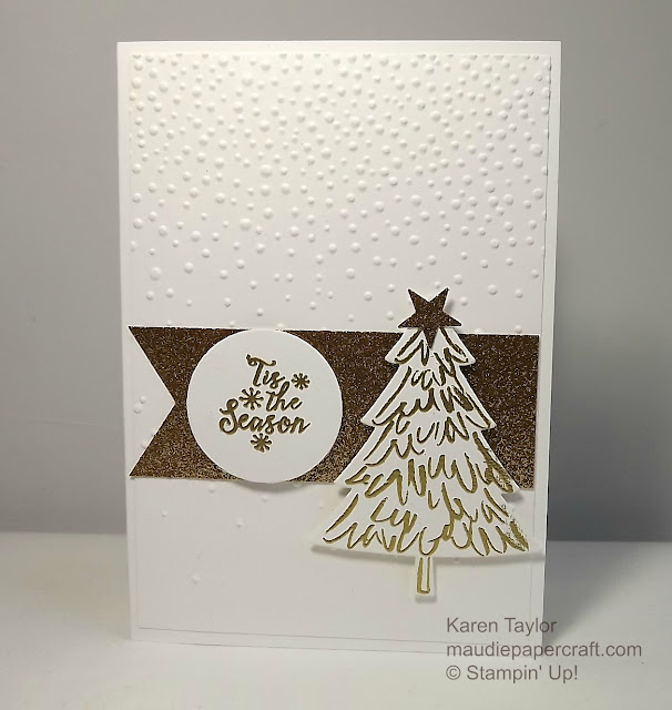 Stampin' Up Peaceful Pines Christmas card heat embossed