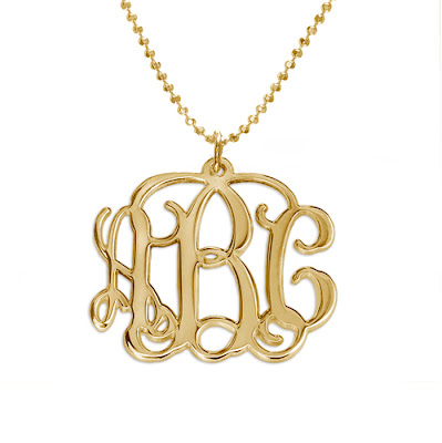 Sterling Silver 18K Gold Plated monogram necklace
