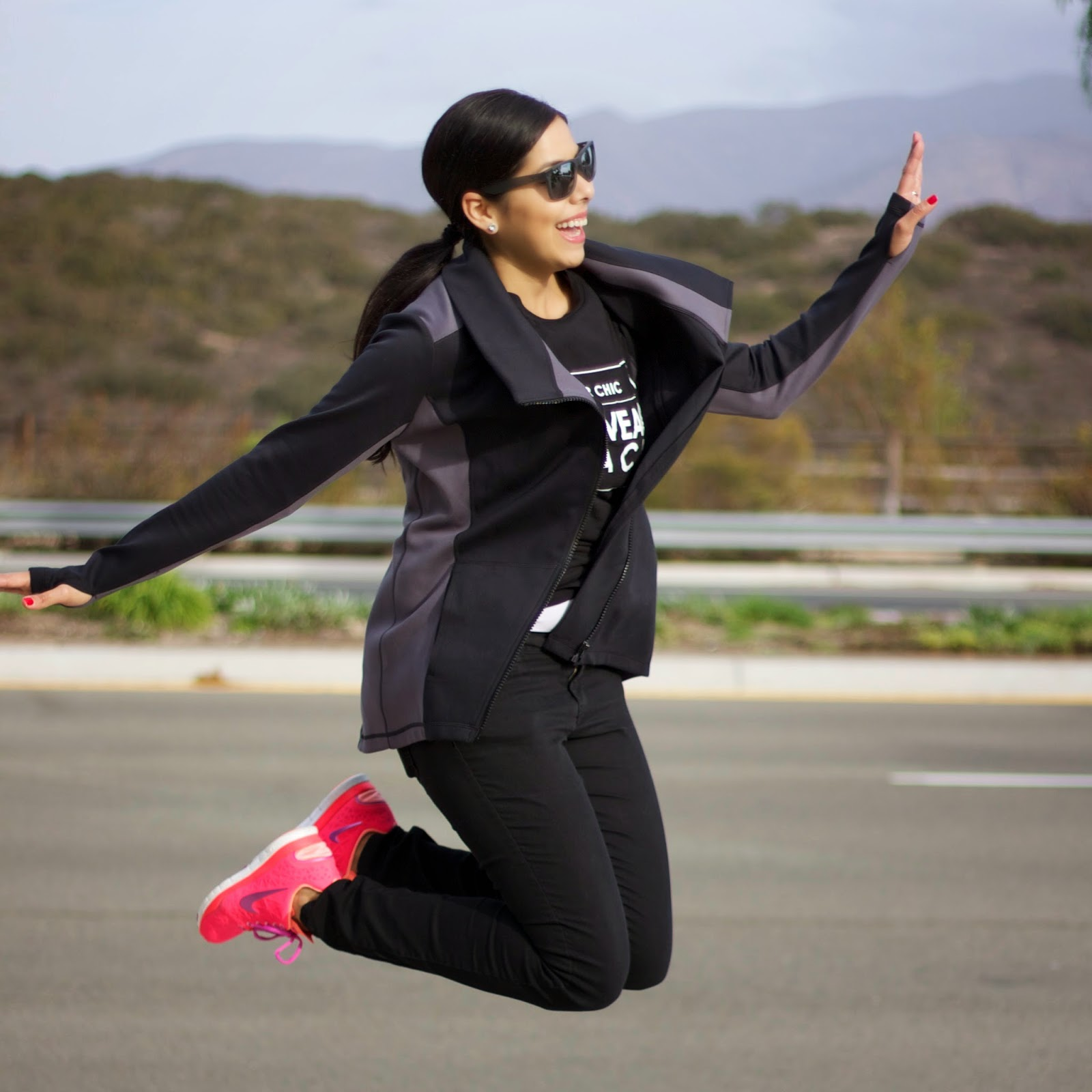 fun outfit, fun blogger outfit, hot pink nikes, jumping pose