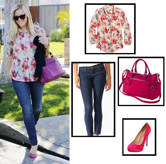 6pm, bag, blouse, celebrity street style, celebrity style, forever 21, heels, jeans, legally blonde, madewell, purse, reese witherspoon, shoes, street style, style, super style steals, target, this means war, get the look, look for less, budget fashion
