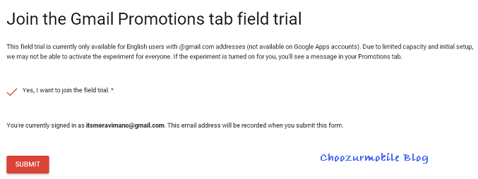 gmail field trial for promotions grid view