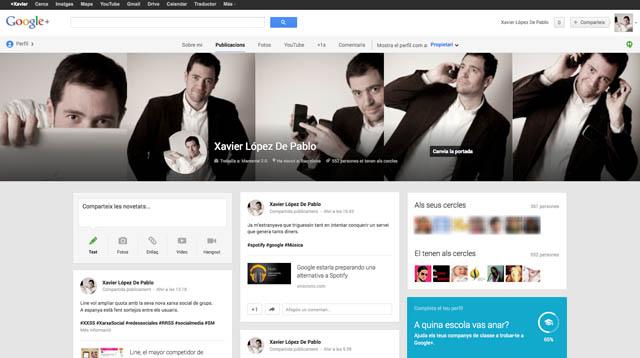 Pantalla Perfil de la Xarxa Social Google Plus