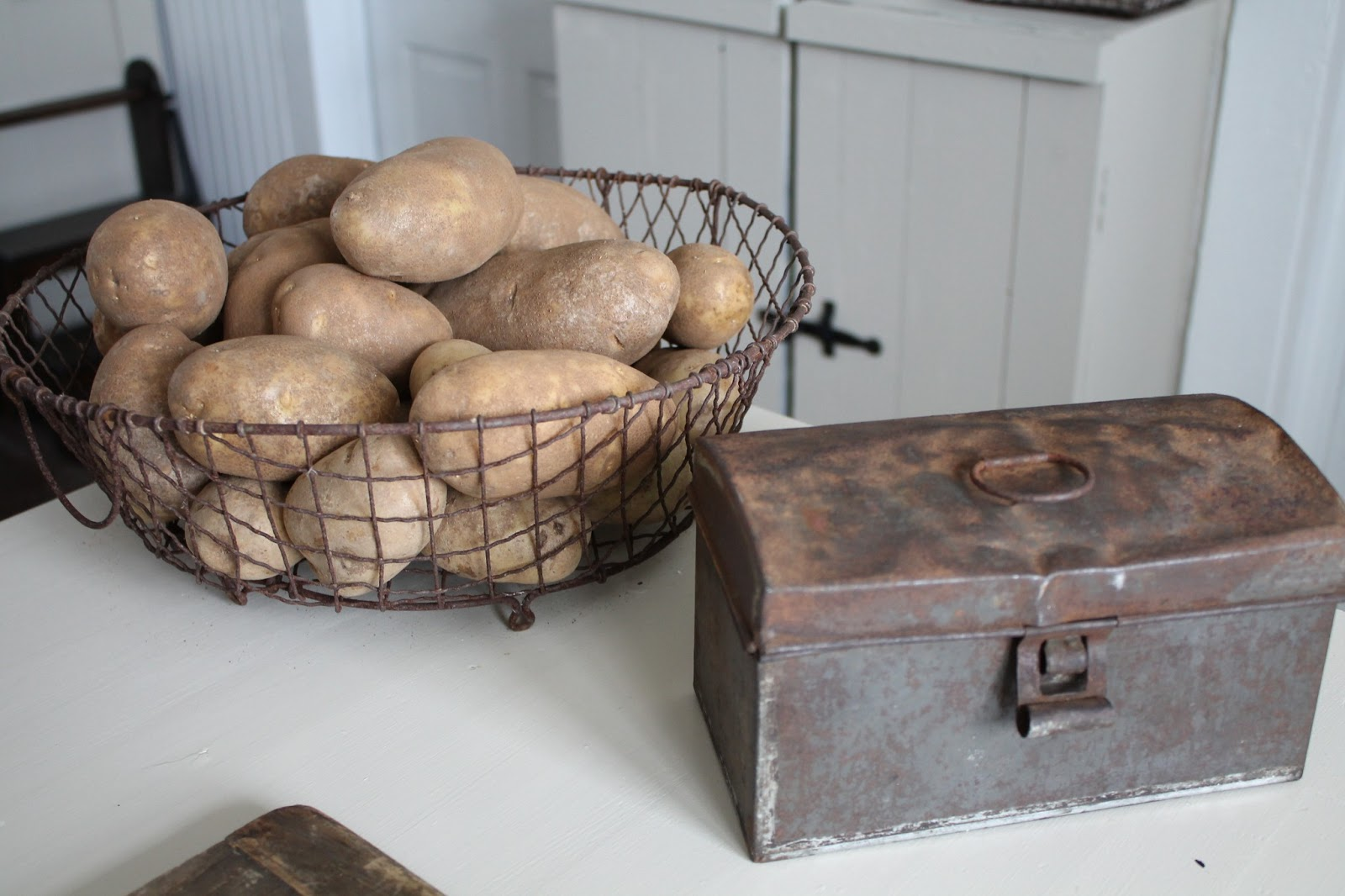 farmhouse 5540 rustic and rusty kitchen items i absolutely love the old rusty basket i purchased from blue moon collectibles i looked at this item for sometime before purchasing now i can t believe i