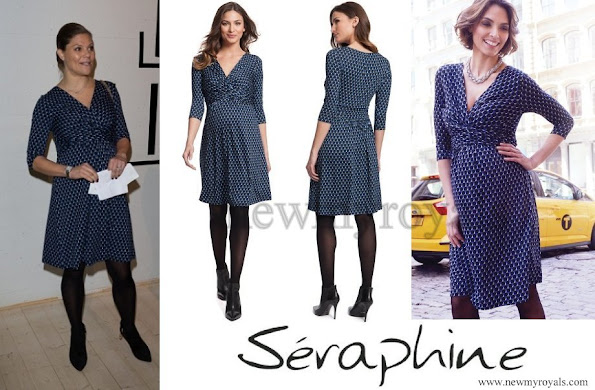 The Crown Princess wore Seraphine Bubble Print Maternity Dress. The blue bubble print dress finishes above the knee, with length sleeves.