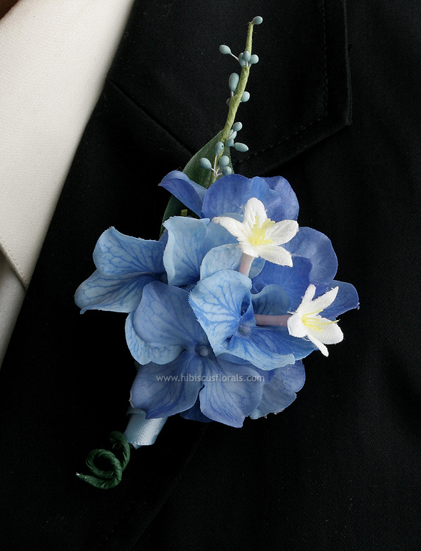 ... blue hydrangea and stephanotis Boutonniere by: Hibiscus Florals Blue Hydrangea Boutonniere