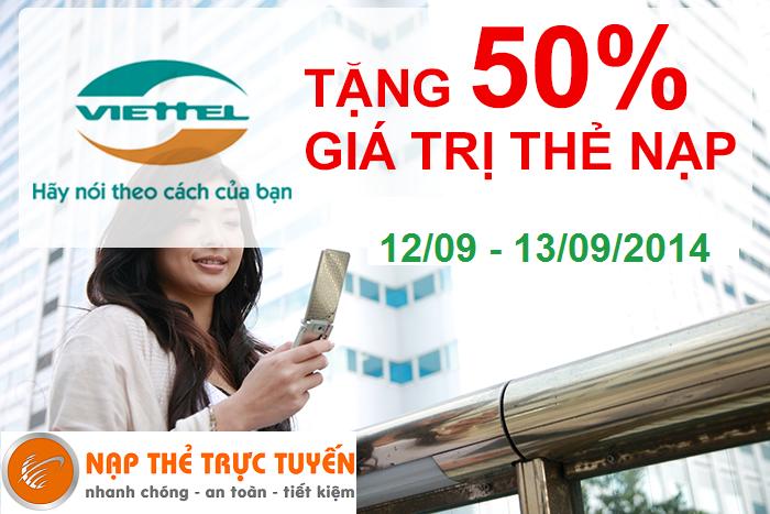 Tặng 50% giá trị thẻ nạp Viettel - Nạp Thẻ Trực Tuyến