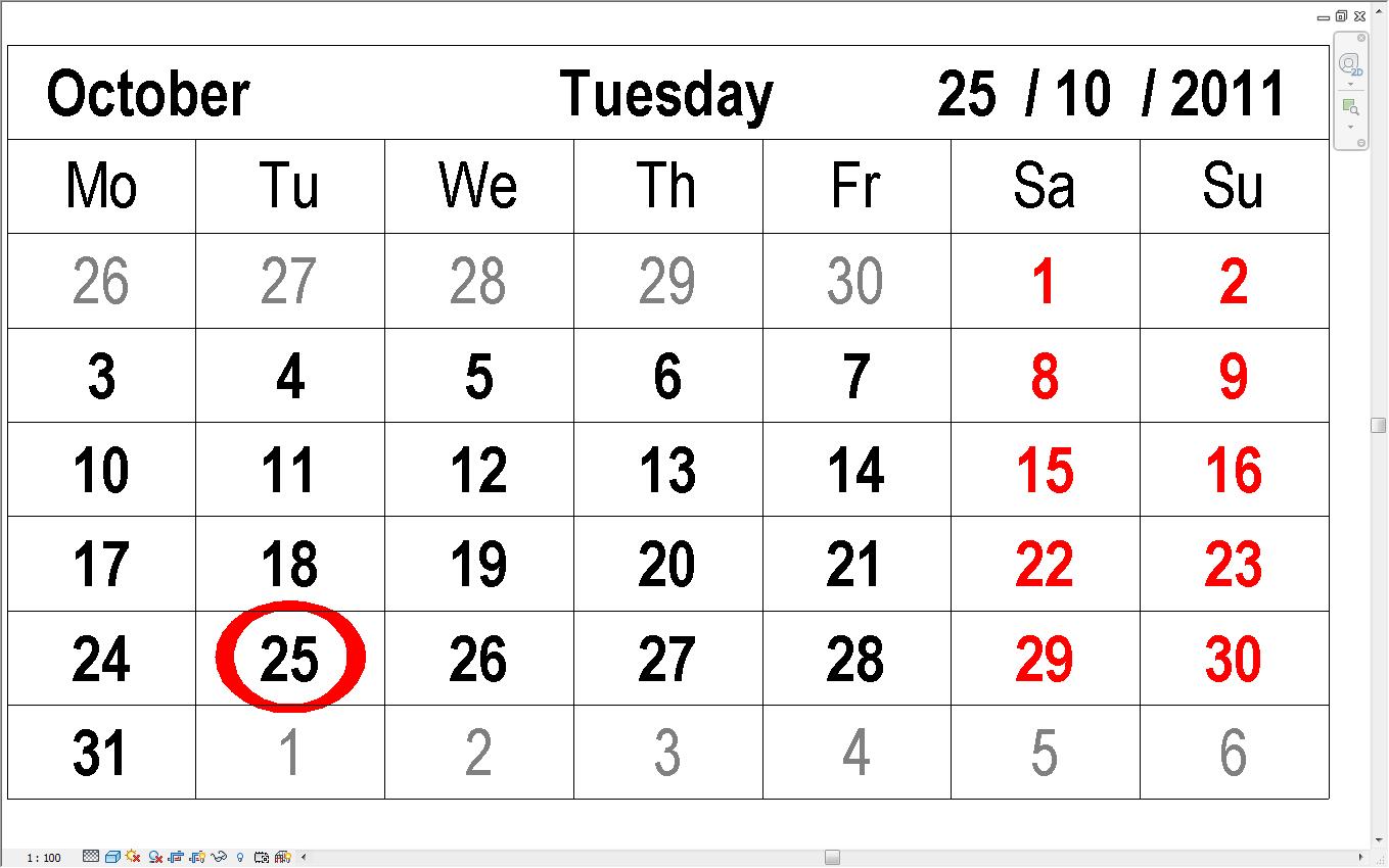 Red Hot BIM: Revit Calendar