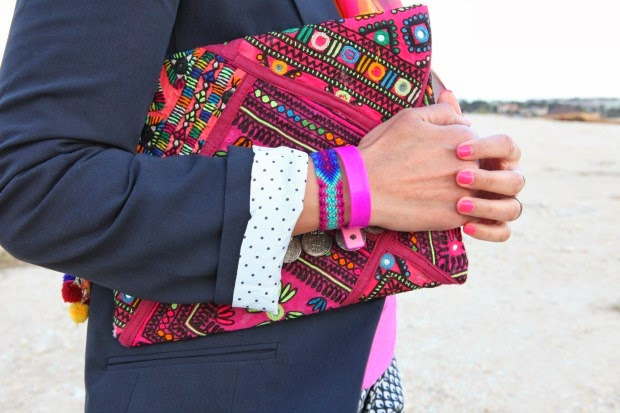 ASOS Blazer, Hot Pink Blouse, Gap Trousers, Silk Scarf, Tanvii.com