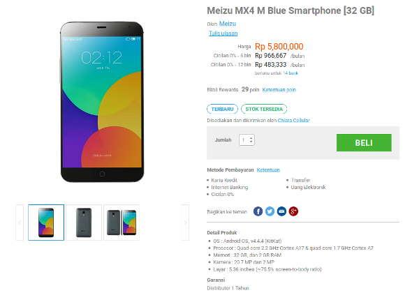 Asyiik, Meizu MX4 Sudah Tersedia di Pasaran