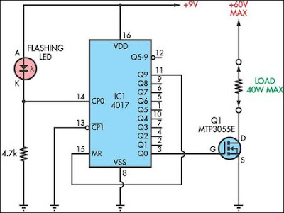 Circuit flashing LED 4017