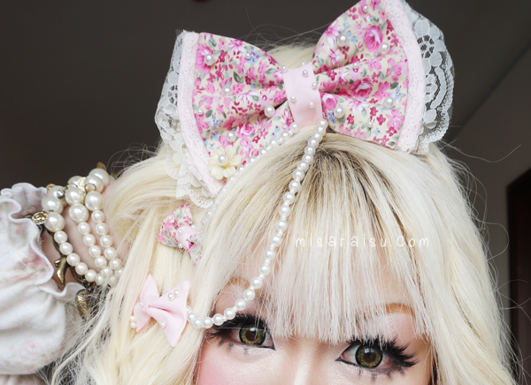 hime gyaru cute pink bow pearl