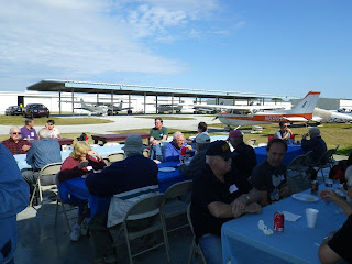 Open air dining next to the airplanes