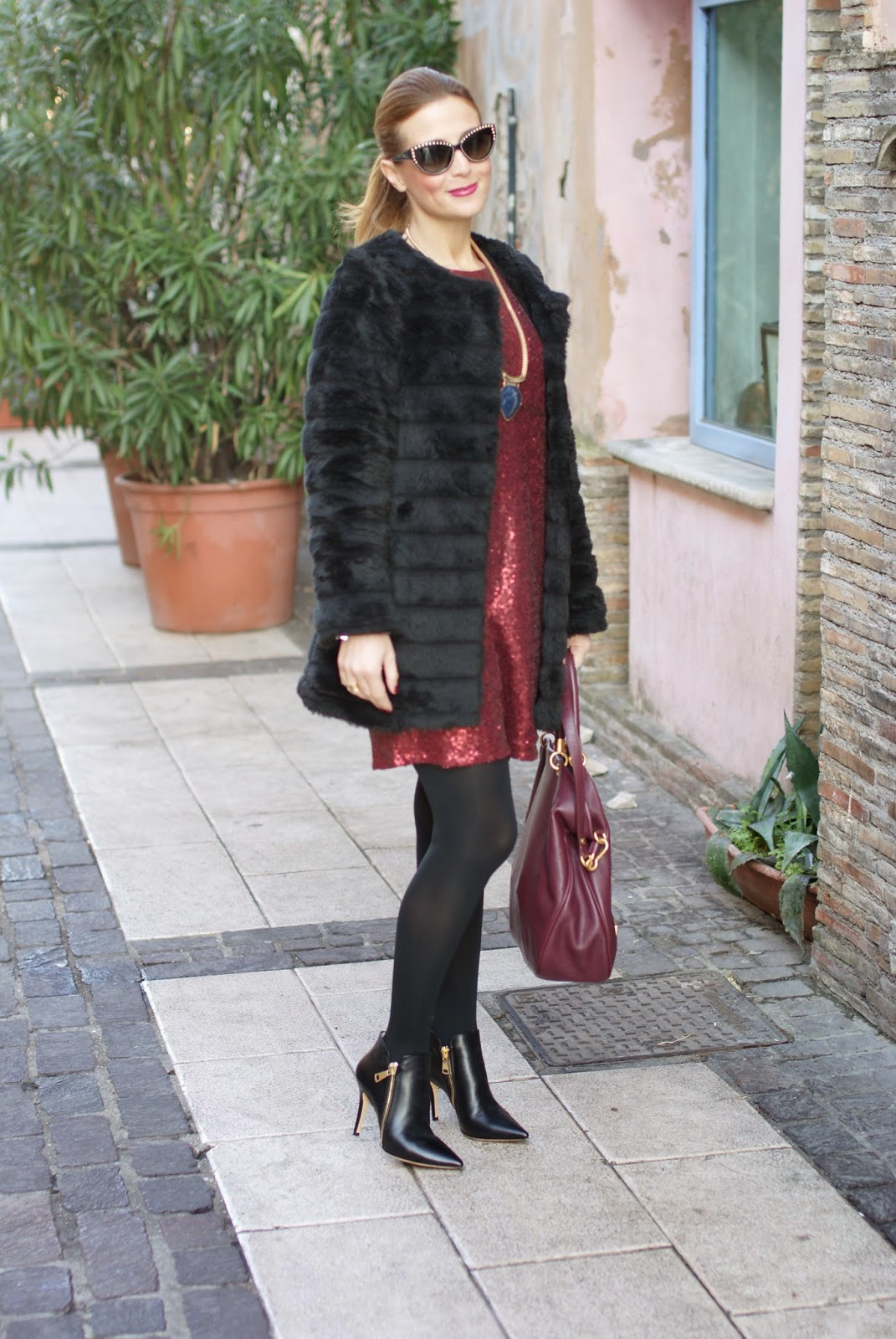 Poppy Lux ruby dress, a sequin dress for holidays and party worn with Roberto Botticelli ankle boots and faux fur jacket, Fashion and Cookies, fashion blogger