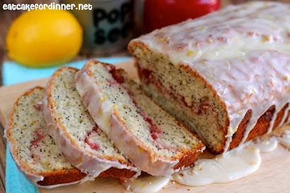 Strawberry Swirled Lemon Poppy Seed Bread