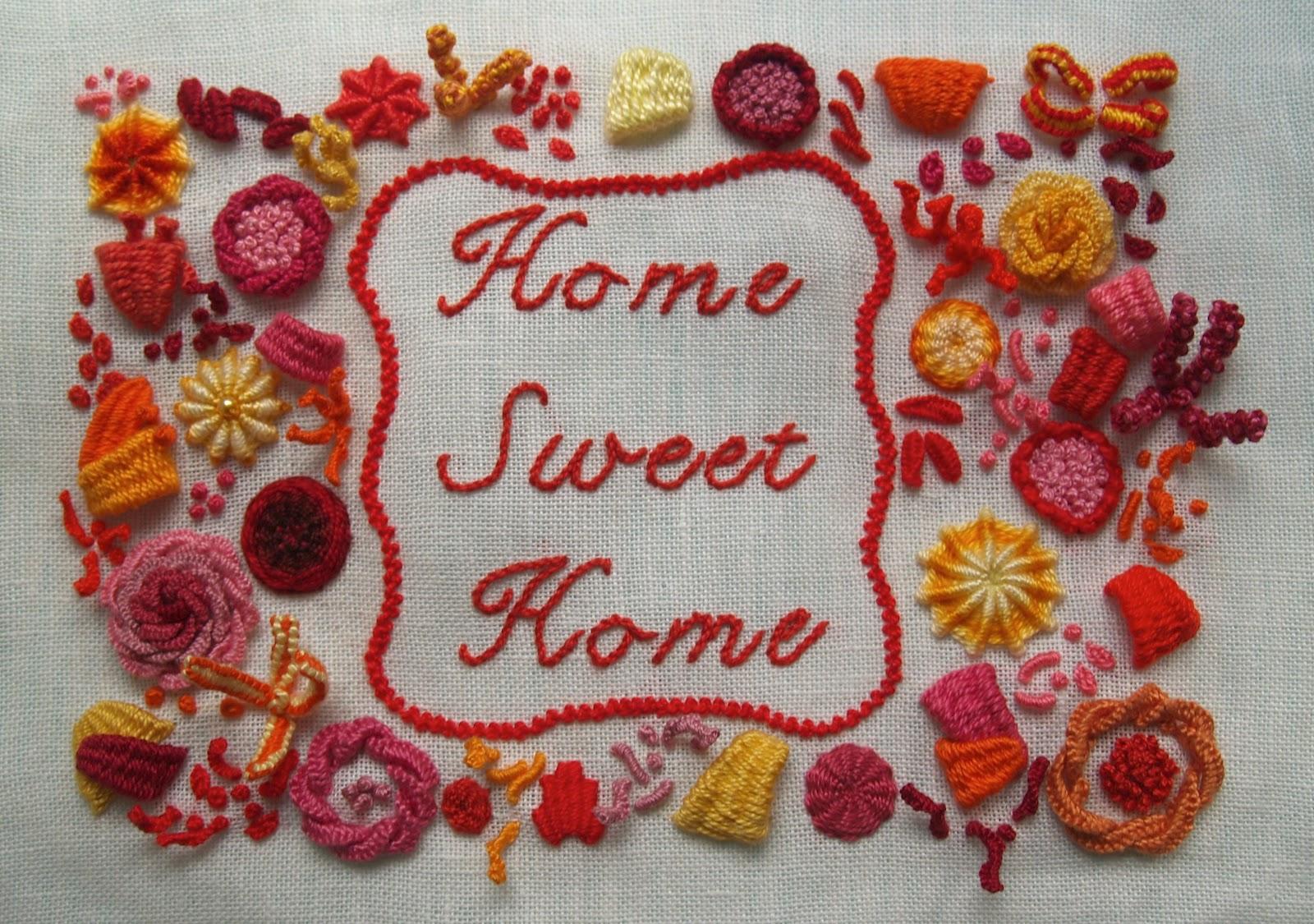 Tredimensionelt Home Sweet Home broderi