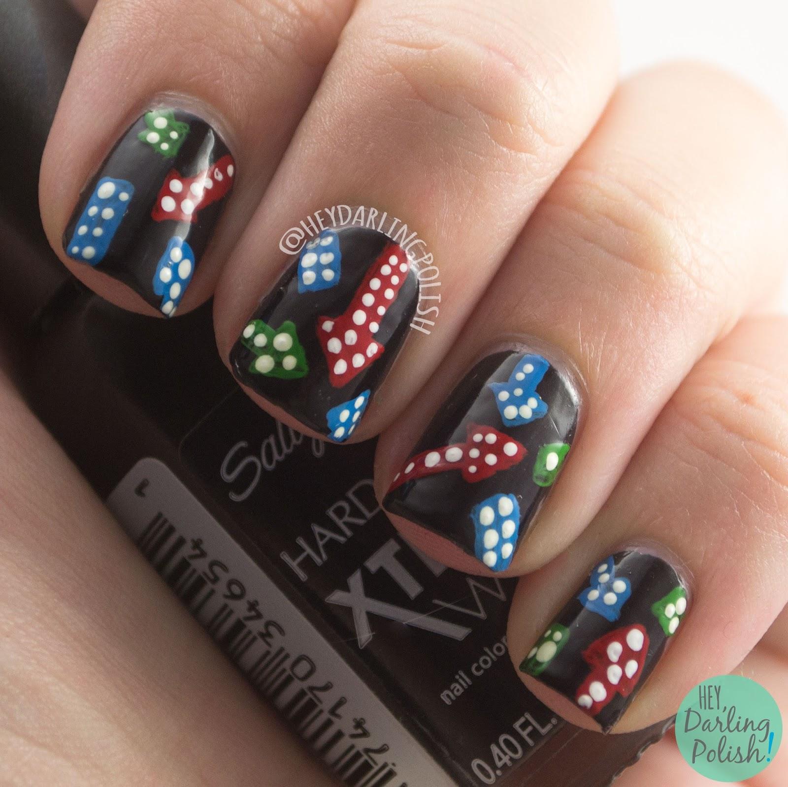 nails, nail art, nail polish, lights, neon, vintage, hey darling polish, the nail art guild, dots, free hand