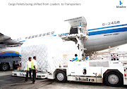 . Pallets being Shifted from loader to Transporters at Chennai Airport (bhadra international cargo pallets being shifted from loader to transporters at chennai airport)