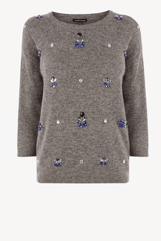 grey jumper with jewels, warehouse jewelled jumper,