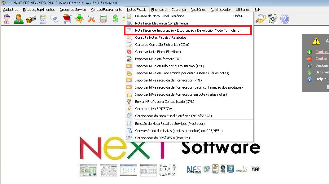 NeXT ERP 1.7.8 NF-e 3.10