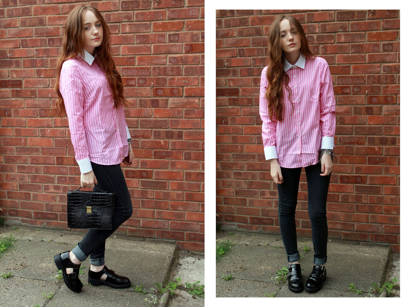 hawes and curtis tailored shirt, primark jeans, primark monk shoes and black satchel