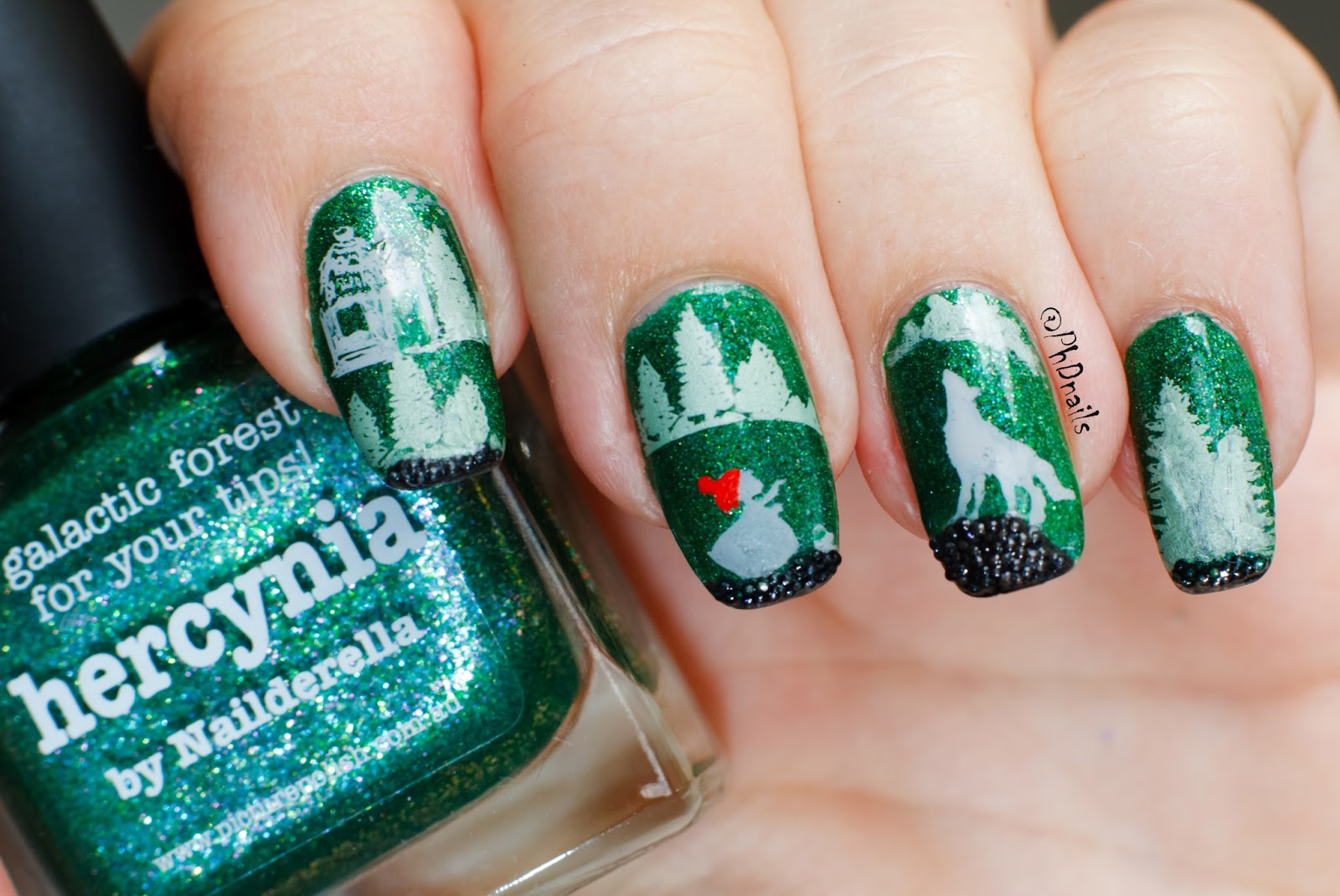 Phd nails stamping nail art with picture polish hercynia and phd nails stamping nail art with picture polish hercynia and caviar beads little red riding hood for omd3 prinsesfo Images